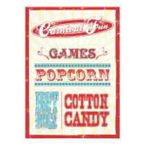 Vintage circus typography birthday party invite