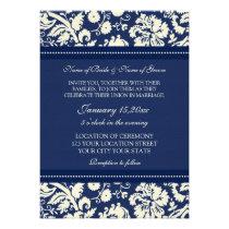 Photo Wedding Invitations Blue Cream Damask