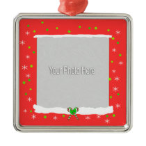 Red Happy Holiday Snowflakes (photo frame) Ornament