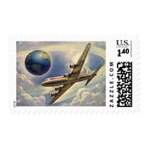Vintage Airplane Flying Around the World in Clouds Postage Stamps