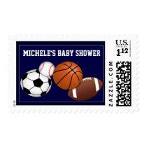Baby boy sports custom baby shower stamp
