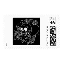 Skull Love - Skulls, Roses and Hearts by Al Rio Postage Stamps