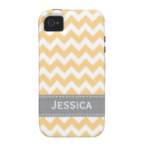 Yellow and Gray Chevron iPhone 4 / 4s Case-Mate Ca Case-Mate iPhone 4 Case