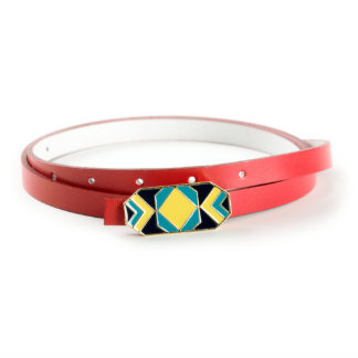 Geometric 14kt Gold Buckle with Red Italian Leather Skinny Belt