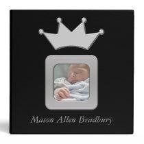Black & Silver Baby Boy Prince Crown Photo Album Vinyl Binder