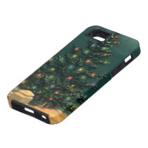 Vintage Christmas Tree at Night, Winter Snowscape iPhone 5 Covers