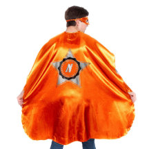 Adult Orange Superhero Costume with Black Star