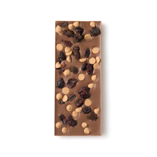 Dried Cranberry, Raisin and Peanut Butter Drop Milk Chocolate Bar