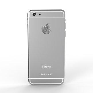 Blanco del iPhone 6 del lux con el logotipo del