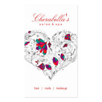 Salon Spa Floral Heart Red Colorful Business Card Templates