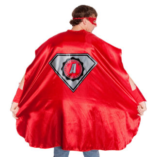 Adult Red Superhero Costume with Black Diamond