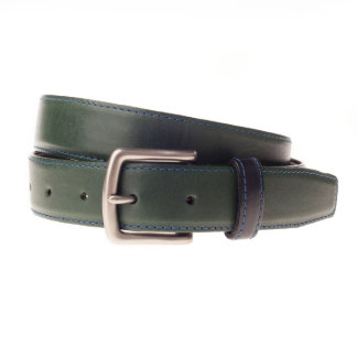 Burnished Silver Buckle with Forest Green