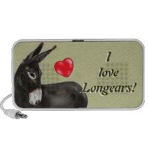 I Love Longears Demure Donkey Portable Speakers