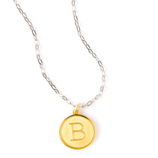 Gold Plated Initial Pendant on Silver Cable Chain