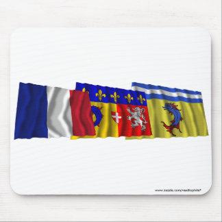 Isère, Rhône-Alpes & France flags Mousepad