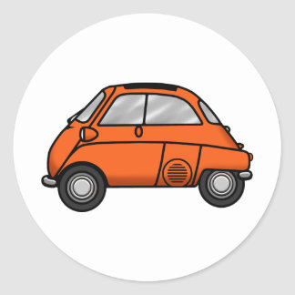 isetta orange classic round sticker
