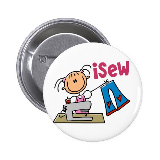 iSew Stick Figure T-Shirts, Gifts, and Apparel 2 Inch Round Button