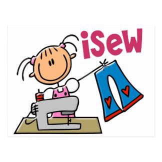 iSew Stick Figure T-Shirts, Gifts, and Apparel Post Card