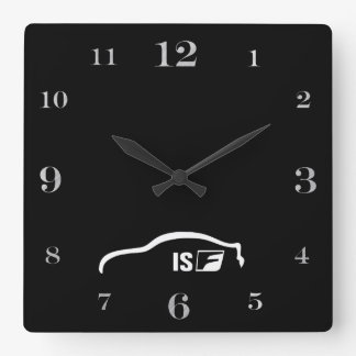 ISF white brushstroke logo Square Wall Clock