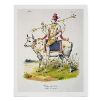Ishana or Shiva, engraved by C. de Motte (1785-183 Poster