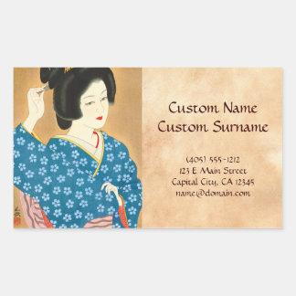 Ishida Waka Spring Sentiment japanese lady woman Rectangular Sticker