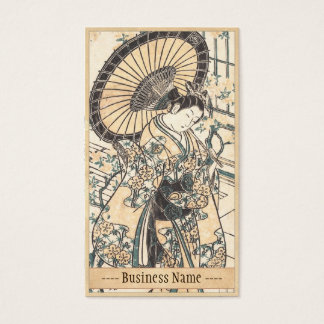 Ishikawa Toyonobu Young Lady with Parasol Business Card