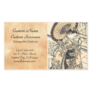 Ishikawa Toyonobu Young Lady with Parasol Double-Sided Standard Business Cards (Pack Of 100)