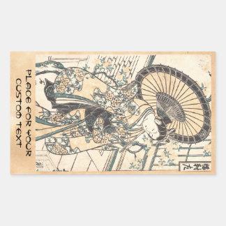 Ishikawa Toyonobu Young Lady with Parasol Rectangular Sticker