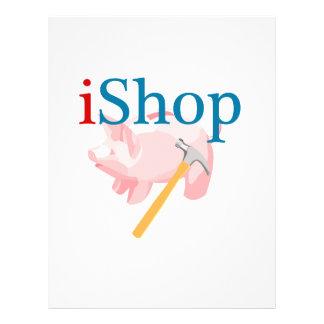 iShop divertido con Piggybank y el martillo Tarjetas Informativas