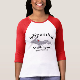 Ishpeming Michigan Heart Map Design Raglan Shirt