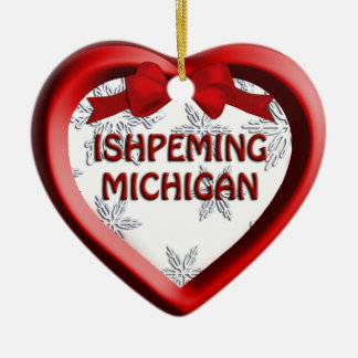Ishpeming Michigan Snowflakes Heart Ornament