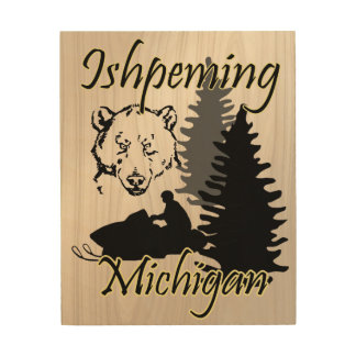 Ishpeming Michigan Snowmobile Bear Wood Art