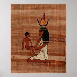 ISIS con la impresión del papiro de Horus del niño Poster