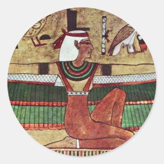 ISIS de la diosa, por Ägyptischer Maler Um 1360 Pegatina Redonda