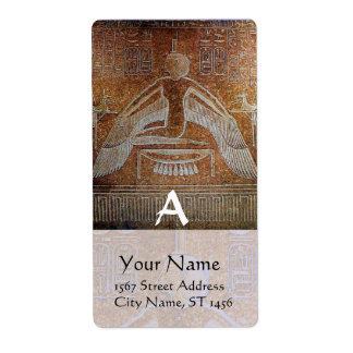 ISIS Egyptian Goddess,Antique Brown White Monogram Label