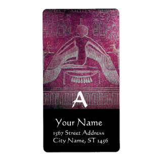 ISIS Egyptian Goddess,Antique Pink Black Monogram Label