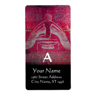 ISIS Egyptian Goddess,Antique Red Black Monogram Label