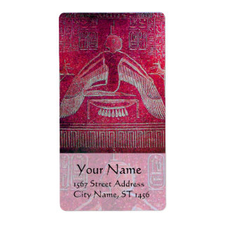 ISIS Egyptian Goddess,Antique Red Pink Hieroglyph Label