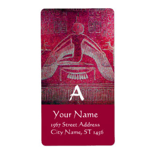 ISIS Egyptian Goddess,Antique Red White Monogram Label
