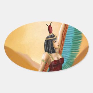 Isis Egyptian Pagan mother goddess digital art Oval Sticker