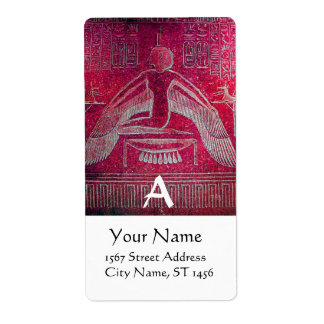 ISIS MONOGRAM, antique pink red white Label