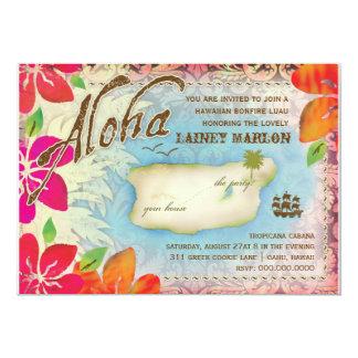 """Isla 2 de Luau de la hawaiana de la cromatografía Invitación 5"""" X 7"""""""