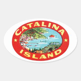 Isla California de Catalina del vintage Pegatinas De Óval Personalizadas