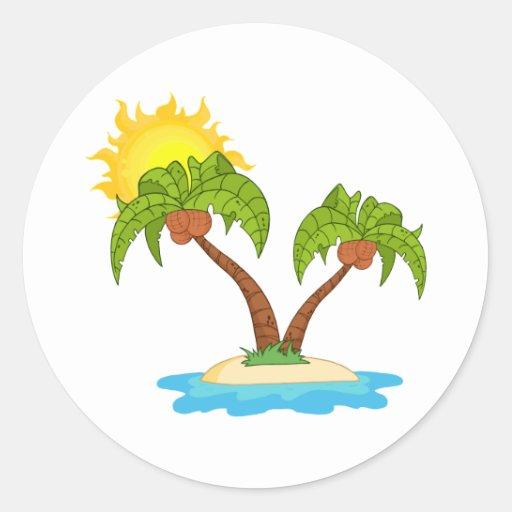 Isla con la palmera dos pegatina redonda