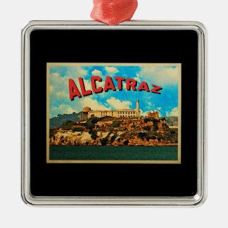 Isla de Alcatraz del vintage Adorno Navideño Cuadrado De Metal