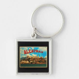 Isla de Alcatraz del vintage Llavero Cuadrado Plateado