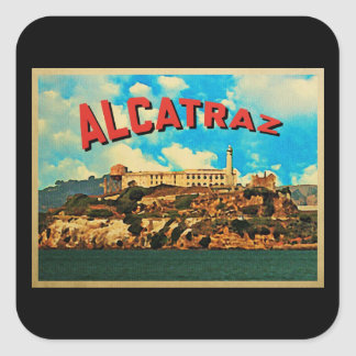 Isla de Alcatraz del vintage Pegatina Cuadrada