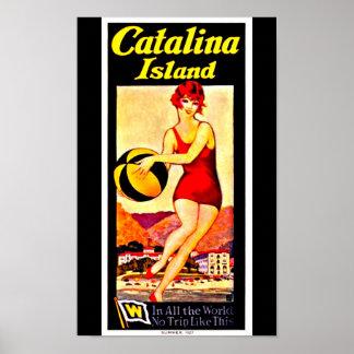Isla de Arte-Catalina del viaje del Poster-Vintage Póster