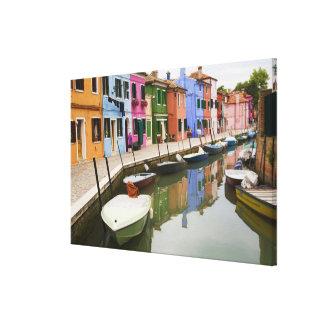 Isla de Burano, Burano, Italia. 4 coloridos Impresiones En Lienzo Estiradas