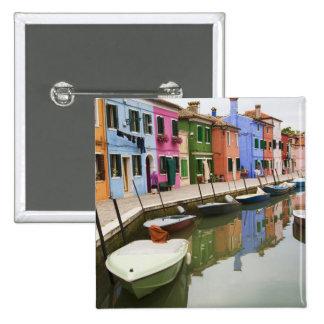 Isla de Burano, Burano, Italia. 4 coloridos Pin Cuadrado